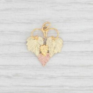 Black Hills Gold Grape Bunch Leaves Charm 12k Yellow Green Rose Gold Pendant