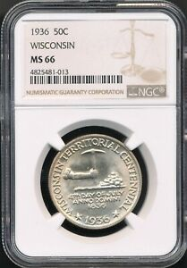 1936 Wisconsin Commemorative Half Dollar NGC MS 66 *Low Mintage Of Just 25,015!*