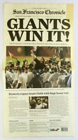 SF Giants 2010 WORLD SERIES CHAMPIONS Newspaper CHRONICLE Giants Win It! Nov. 2