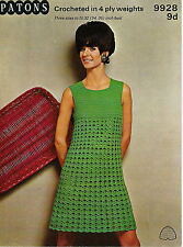 "LADIES CROCHET PATTERN LOVELY VINTAGE 4ply DRESS 3 SIZES 32-36"" BUST"