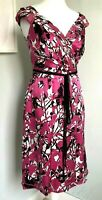 JESIRE Bright Pink Floral Mulberry Silk Dress Sz 10 12 Party Wedding Guest Races