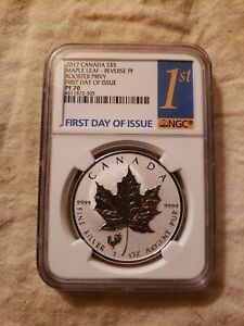 2017 Canada Maple Leaf Rooster Privy 1st Day Of Issue PF70