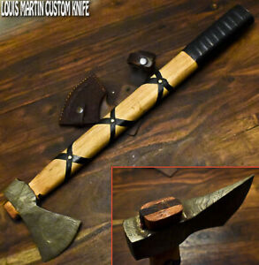 Louis Martin Hand Made Damascus Steel Walnut Wood Hunting Axe Knife