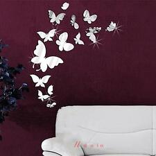 14Pcs 3D Art Vinyl Butterfly DIY Mirror Wall Sticker Decal Mural Home Room Decor