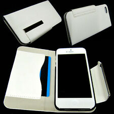 Luxury Leather Wallet Cover Pouch Case Card Slot For iPhone 5 5G 5S 5C SE White