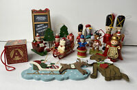 16 Vintage Wooden Christmas Ornaments Assorted Styles Holiday Wood Ornaments