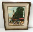 Original Vintage A. Ferriere Oil Painting Paris Marche St Medard Rue Mouffetard