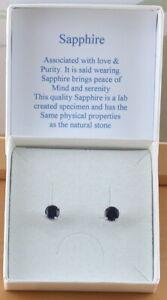 925 Sapphire (Lab Created) Stud Earrings/Sterling Silver Sapphire Earrings UK