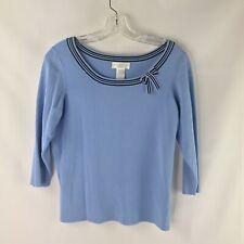Worthington Petite Women's L Scoop Neck 3/4 Sleep Baby Blue Top with Bow  NWOT