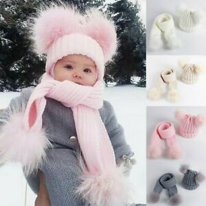 Winter Warm Toddler Baby Kids Knit Hat Scarf Beanie Cap Double Pom Faux Fur Hat