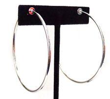 CLIP-ON EARRINGS STEEL SILVER HOOP EARRINGS SIMPLE THIN HOOP 2.25 INCH HOOPS