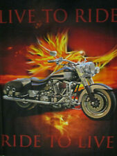 HARLEY MOTORCYCLE LIVE TO RIDE DIGITAL PRINT COTTON FABRIC PANEL