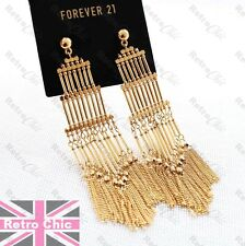 "4.5"" long HUGE PAGODA FRINGE GOLD PLATED big EARRINGS multi chains METAL TASSEL"