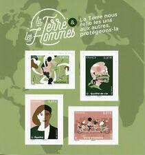 France environnement timbres 2020 neuf sans charnière Earth & Homme Education Egalité Ensemble 4 V MS