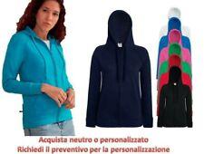 Felpa Leggera Cotone Donna Con Cappuccio e Zip Lunga Fruit Of The Loom fr621500