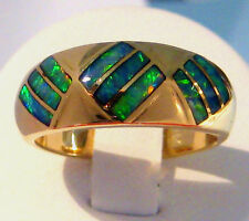 Australian Mintabie Inlayed Opal & 14ct Solid Gold Ring (AOW 245ni)