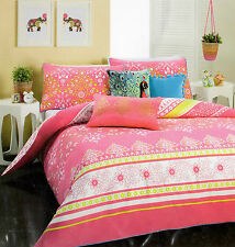 NADYA PINK/GREEN/WHITE/BLUE GOLD METALLIC PRINT FLORAL QUILT COVER SET SINGLE