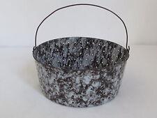 Antique  Brown Swirl  Graniteware Colander with Bail Handle