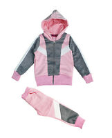 New Kids Girls Tops Pants Tracksuit Hooded Zip Top & Matching Jogg 2pcs Outfits