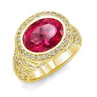 6.10 Ct Tourmaline Round Diamond Engagement Anniversary F Ring 14k Yellow Gold
