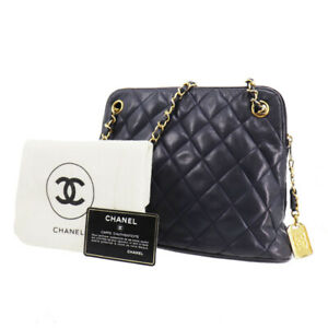 CHANEL Quilted Matelasse Chain Shoulder Bag Navy Leather Vintage Auth #QQ91 Y