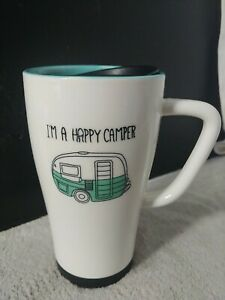 I'M A HAPPY CAMPER COFFEE MUG, COFFEE TUMBLER, Art Deco Print Travel Mug - B109