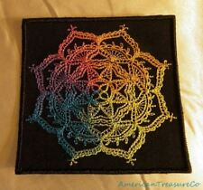 Beautiful Embroidered Rainbow Pride Mendhika Medallion Black Patch Iron On USA