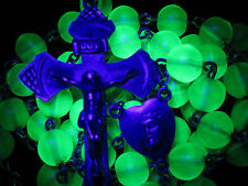 "† W@W! SCARCE ANTIQUE STERLING URANIUM GLOWING VASELINE GREEN GLASS ROSARY 29"" †"