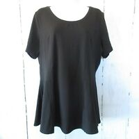 New Isaac Mizrahi Live Top L Large Black Peplum Short Sleeve T Shirt QVC