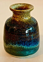 Small Blue Speckled Hand Thrown Hand Painted Original Pottery Clay Vase Nelson