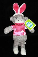 "Dan Dee PINK CAMO EASTER BUNNY SOCK MONKEY 10"" Rabbit Ears Stuffed New Soft Toy"