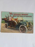Greeting Postcard Vintage Old Car Price of Gasoline