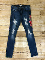 Machine Jeans Junior's / Women's Size 7 Distressed Destroyed Rose Blue Jeans