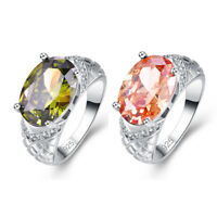 Noble Sparking  Gemstone Morganite & Peridot Jewelry Silver Ring Size 6 7 8 9