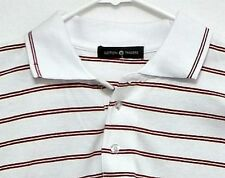 New with Tags!  Cotton Traders White/Burgundy Stripe Mens Short Sleeve Shirt Med