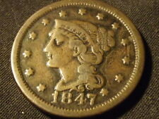 COLLECTIBLE UNITED STATES MINT 1847 BRAIDED HAIR LARGE CENT COIN, Compares to F