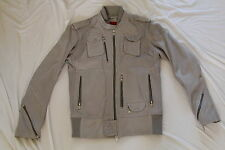 DIESEL LIROY GRAY GREY LAMB LEATHER BIKER JACKET SMALL RARE VINTAGE MENS