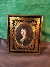 Antique French Porcelain Miniature Portrait Inlay French Dore Brass Frame Signed