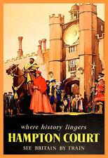 Travel British Railways Hampton Court Train Holiday Vacation Poster Print
