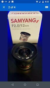 Samyang 12mm f/2.0 CS NCS Lens Micro four thirds fit MFT mount Lumix Olympus