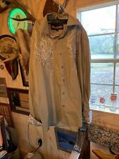 House of Lords Cross Rhinestones Studs Long Sleeve Button Shirt Mens Large Tan