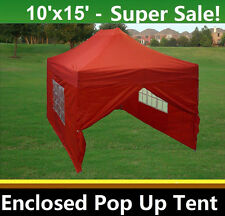 10'x15' Enclosed Pop Up Canopy Party Folding Tent - Red - E Model