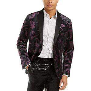 MSRP $150 INC Mens Black Floral Blazer Slim Black Size Large