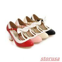 Ladies T-Strap Buckle Pump Prom Shoes Bowknot CHunky Heels Lolita Dress Shoes Sz