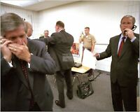 GEORGE W BUSH ANDY CARD ON PHONE IN FLORIDA ON SEPTEMBER 11 - 8X10 PHOTO (CC575)