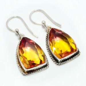 "Bi Color Tourmaline Handmade 925 Sterling Silver Jewelry Earring 1.37"" M1451"