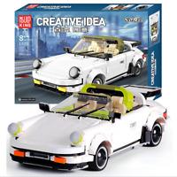 Bausteine MOC Hood Weiß Sportwagen Auto Spielzeug Geschenk Modell Kind 884PCS