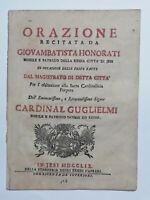 Cardinale Pietro Girolamo Guglielmi Orazione di Giovanbattista Honorati 1759