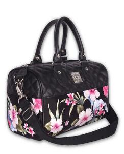 Liquor Brand Luau Black Hawaiian Hibiscus Flowers Handbag Purse LB-ABRO-19006