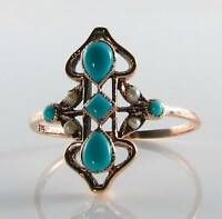 LOVELY LONG VICTORIAN INS 9CT ROSE GOLD TURQUOISE & PEARL RING FREE RESIZE